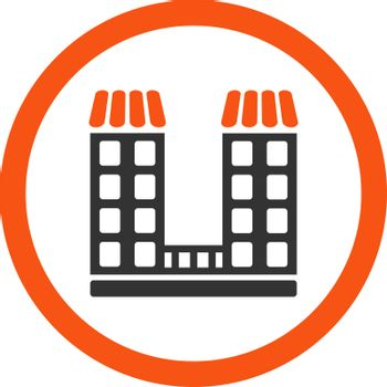 Company vector icon. This flat rounded symbol uses orange and gray colors and isolated on a white background.
