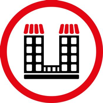 Company vector icon. This flat rounded symbol uses intensive red and black colors and isolated on a white background.
