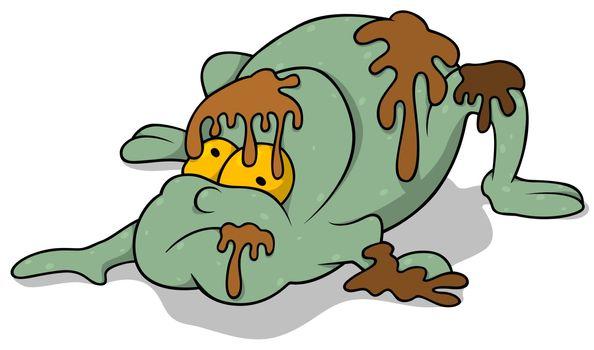 Garbage Monster - Colored Cartoon Illustration, Vector