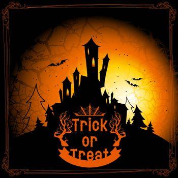 Halloween background with traditional symbols of this festival