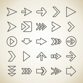 Set of outline icons arrows. Vector illustration
