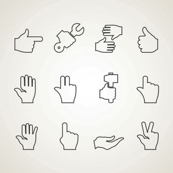 Set of outline icons hand. Vector illustration