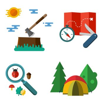 Illustration of camping equipment isolated on white background. Set of vector colorful hiking illustrations - tent compass map penknife axe magnifier tree ladybug acorn and leaf in flat style