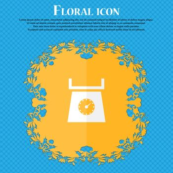 kitchen scales icon sign. Floral flat design on a blue abstract background with place for your text. Vector illustration