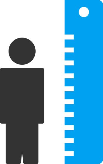 Height Meter vector icon. Style is bicolor flat symbol, blue and gray colors, rounded angles, white background.