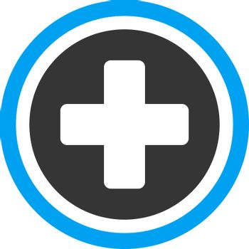 Rounded Cross vector icon. Style is bicolor flat symbol, blue and gray colors, rounded angles, white background.