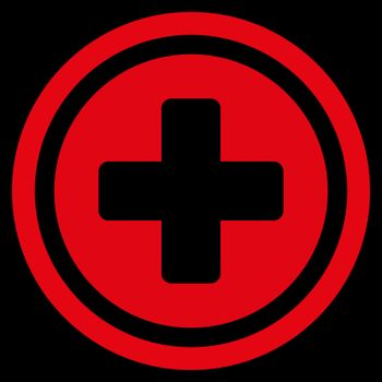 Rounded Cross vector icon. Style is flat symbol, red color, rounded angles, black background.