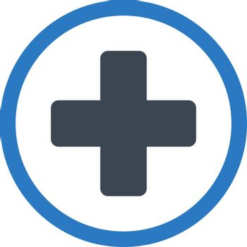 Rounded Plus vector icon. Style is bicolor flat symbol, smooth blue colors, rounded angles, white background.