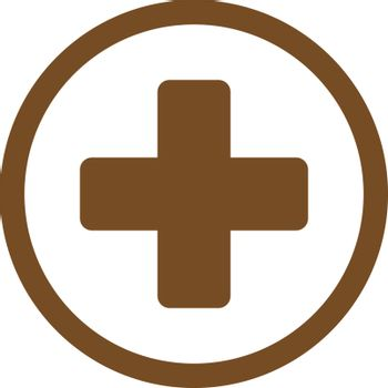 Rounded Plus vector icon. Style is flat symbol, brown color, rounded angles, white background.