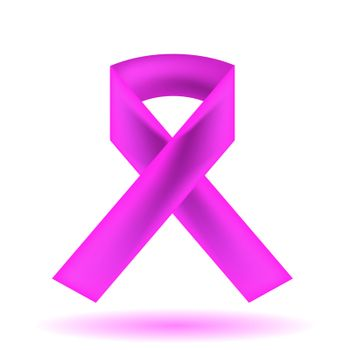 Pink Ribbon Isolated on White Background. Breast Cancer Awareness Pink Ribbon
