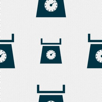 kitchen scales icon sign. Seamless abstract background with geometric shapes. Vector illustration