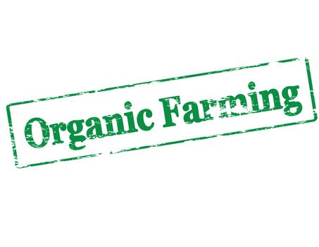Rubber stamp with text organic farming inside, vector illustration