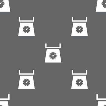kitchen scales icon sign. Seamless pattern on a gray background. Vector illustration