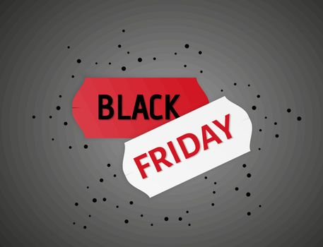 two color stickers with black friday text and black dots on gray gradient background