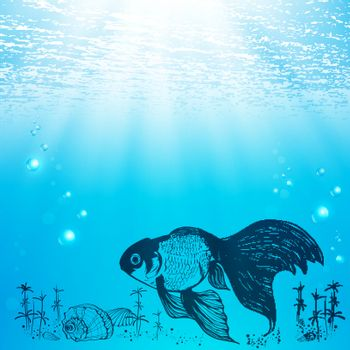 Illustration Of Abstract Sea Life With Shell and Fish, Copyspace