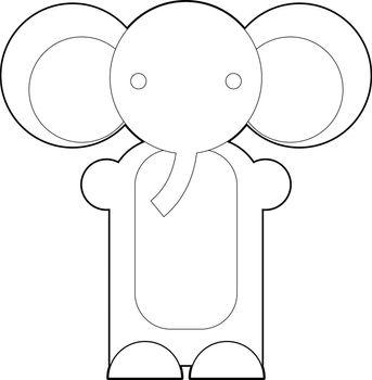 Cute cartoon elephant. Cartoon elephant isolated on white background. Cartoon vector outline illustration of elephant. Coloring book.