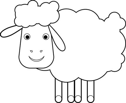 Sheep on a white background vector illustration. Illustration of Cartoon Sheep. Outline illustration for a coloring book. All in a single layer.
