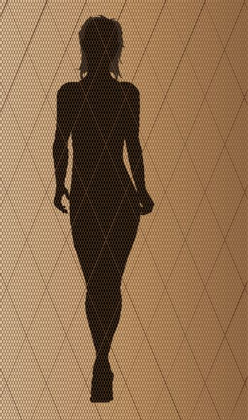 The stitch of a nylon fishnet stocking in brown with a fashion model silhouette
