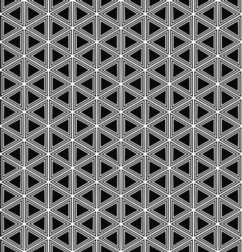 Seamless black and white hexagonal vector triangle pattern design