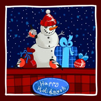 Christmas card design with snowman, gifts and greetings