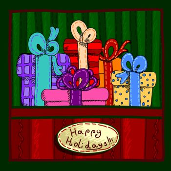 Design a Christmas card with gifts and greetings