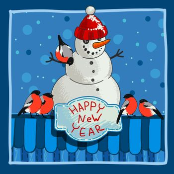 Design a Christmas card with a snowman, birds and congratulations