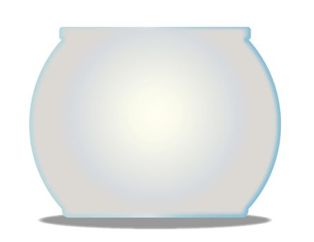 A typical pet goldfish bowl  over a white background