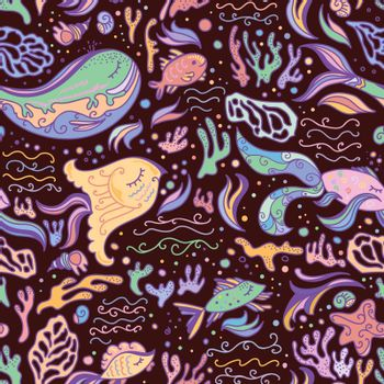Brown bright seamless background with sea animals