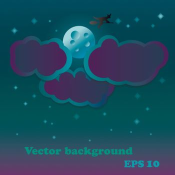 vector backdrop with moon and stars