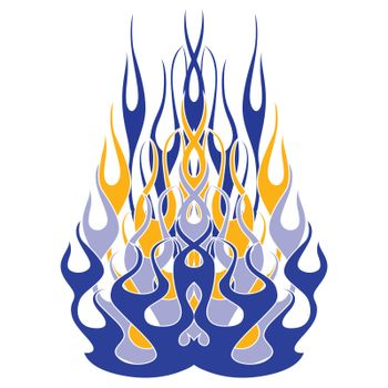 A blue fire ornament with tattoo style