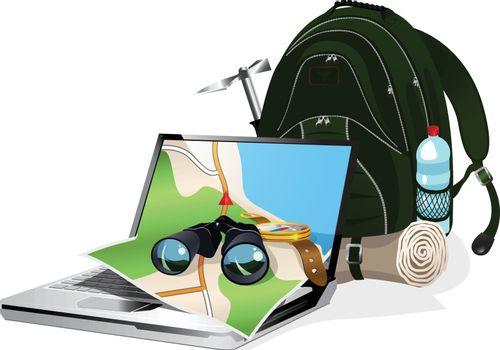 illustration of the navigation equipment and the tourist equipment