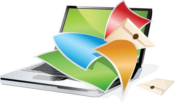 Modern laptop. Vector illustration isolated on white background