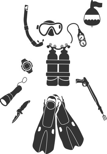 Equipment for Diving  simply symbols for web and user interface