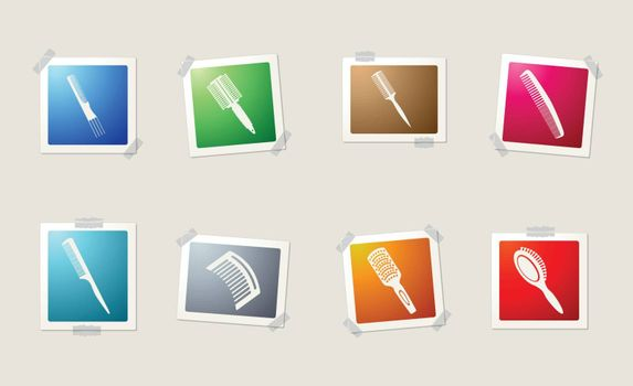 Hairbrushes icons set for web sites and user interface