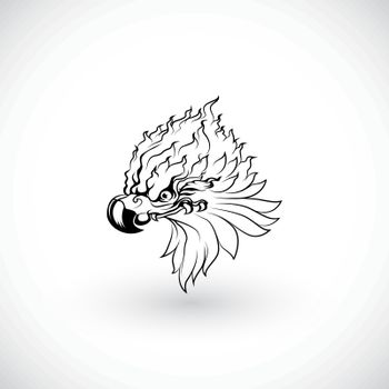 drawing of egle 's head vector for stylized tattoo