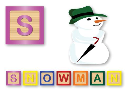 S Is For Snowman text with sliced apple