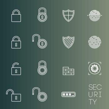 Security icons thin lines styled shield, lock, etc