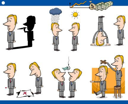 Concept Cartoon Illustration Set of Business Metaphors with Businessman Characters