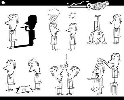 Black and White Concept Cartoon Illustration Set of Business Metaphors with Businessman Characters