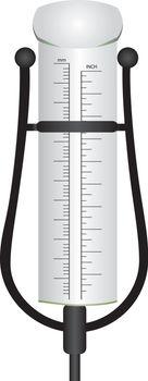 Cylindrical rain gauge on a decorative bracket.