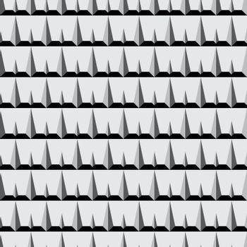 Thorn Spine Seamless Pattern in Greyscale Vector Illustration