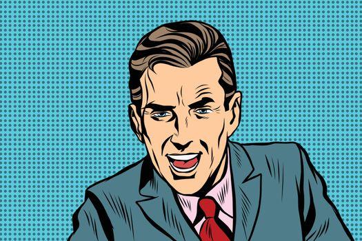 Aggressive speaker retro man pop art retro vector. A politician or a journalist. Retro businessman