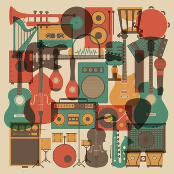 set of abstract  all music instrument icon, retro style
