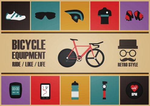 retro bicycle poster, pastel and vintage style