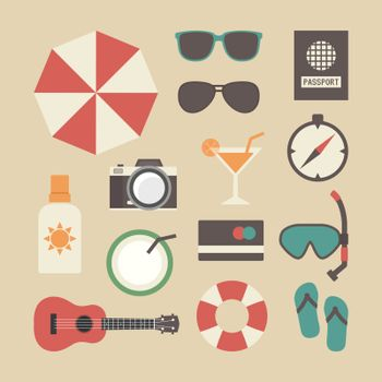 set of beach and travel icon, pastel style