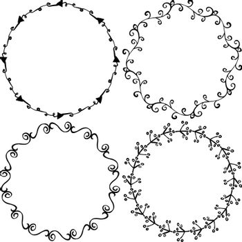 Set of decorative illustrated circle frames made of hand drawn elements