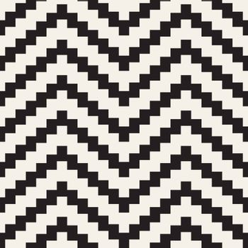 Vector Seamless Black and White ZigZag Jagged Lines Geometric Pattern. Abstract Background Design