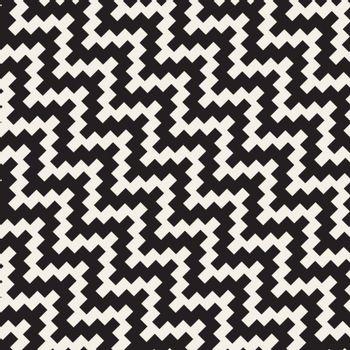 Vector Seamless Black and White Diagonal ZigZag Jagged Pattern. Abstract Background Design
