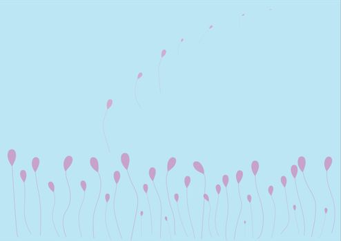 Set of Pink balloons with strings. Eps10.