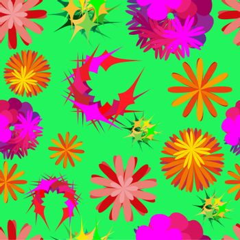 Yellow, red, pink and green unusual flowers. Green floral seamless pattern. Vector Illustration
